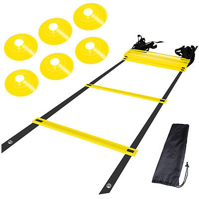 6m Agility Ladder Sport Soccer Football Fitness Training Hurdles 12 Rung 6 Cones