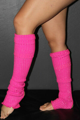 Pole Dance Gym Glitter Extra long Stirr-up Knit Legwarmers Candy