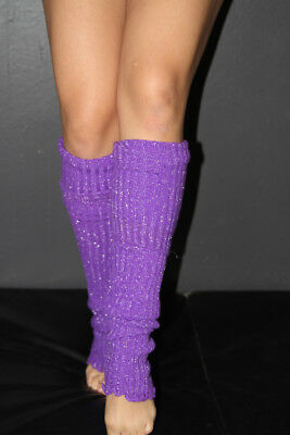 Pole Dance Gym Glitter Extra long Stirr-up Knit Legwarmers Purple