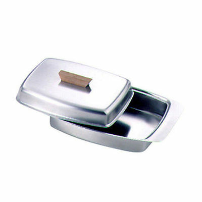 Zodiac Sunnex Stainless Steel Butter Dish & Lid With Wooden Knob / Handle