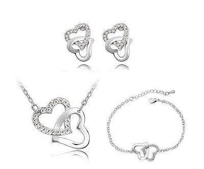 Double Heart Crystal Rhinestone Necklace, Earrings and Bracelet Jewellery Set