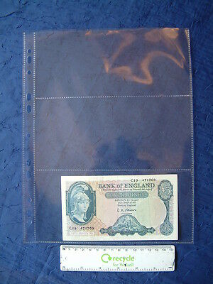 10 X Banknote Album Refills 3 Pocket A4 Plastic Archive Storage Sleeves Page