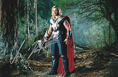 "POSTER Chris HEMSWORTH Thor Genuine Signed Autograph 12""x8"" Gloss Photo COA"