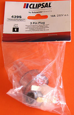 Clipsal (by Schneider Electric)  - 3 Pin Plug 439S, Transparent, 10A 250VAC