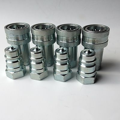 """SMS Hydraulics Quick Disconnect Coupling ISO 7241-1-A,  Steel, 1/2"""" NPT, 4 sets"""