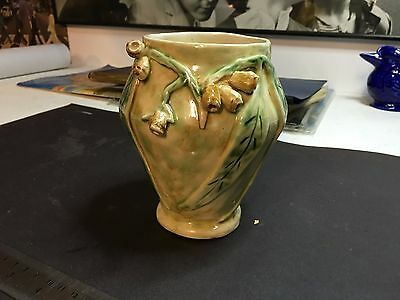 Antique Porcelain Gumleaf Vase, Vintage Ceramic Australiana With Gum Leaves