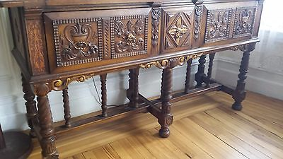 Vintage Brown Wooden Carved European Dining Room Furniture with 2 Drawers