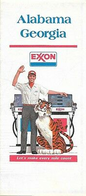 1977 EXXON OIL Road Map ALABAMA GEORGIA Atlanta Mobile Savannah Montgomery Tiger