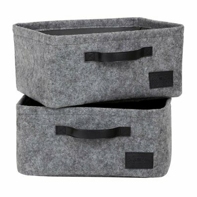 South Shore Storit 2 Piece Small Woven Felt Baskets in Gray