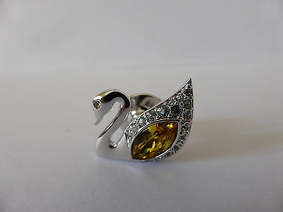 Authentic Swarovski Crystal Yellow Swan Brooch Pin 2004 New Signed