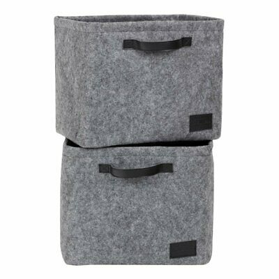 South Shore Storit 2 Piece Large Woven Felt Baskets in Gray