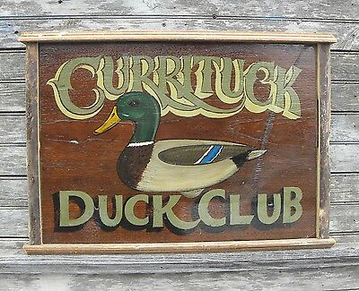 Curritck Duck Sign OBX hand painted art vintage looking  decor  n carolina