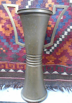 """Large Solid Brass Deco Urn C 1930's 17.25 """" Tall Umbrellas*Canes*"""