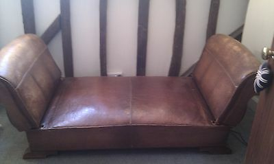 Antique French Leather Day Bed Daybed Club Chair Chaise Lounge