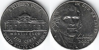 USA 5 Five cent coin Nickel 2007