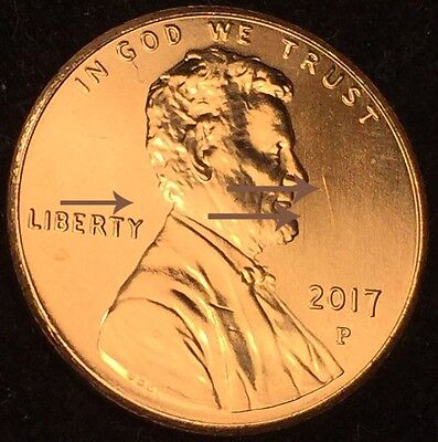 2017 LINCOLN CENT CLASHED DIES TDC-1c-2017P-01 SHIELD SPIKES SHIELD MINT ERROR