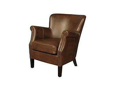 Henley Modern Leather Air Tan Fireside Armchair Livingroom Bedroom Conservatory