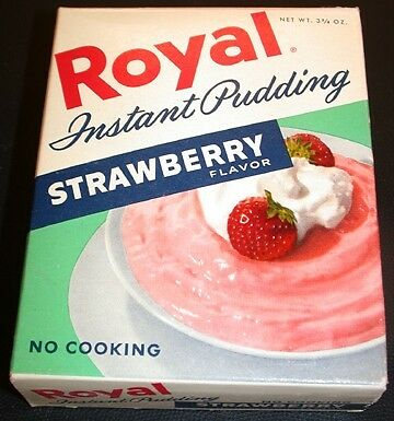VINTAGE 1950's ROYAL INSTANT PUDDING Strawberry Flavor Full Box OLD STORE STOCK