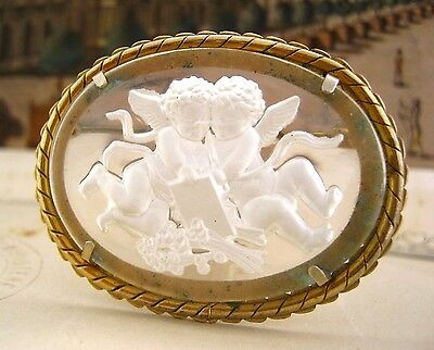 Glass carved with Amours Cherub Angels Antique oval Brooch  pin