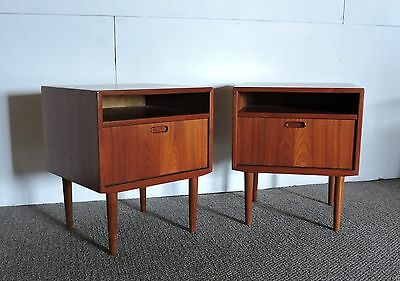 Pair Of Danish Mid Century Modern Teak Nightstands By Falster
