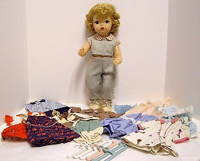 "Vintage 1950s Terri Lee Doll 16"" Blonde With 10 Outfits Tagged 11 Accessories"