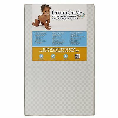 "Dream On Me 3 Portable Crib Mattress, White 38""L x 24""W x 3""H ~ Brand New In Box"