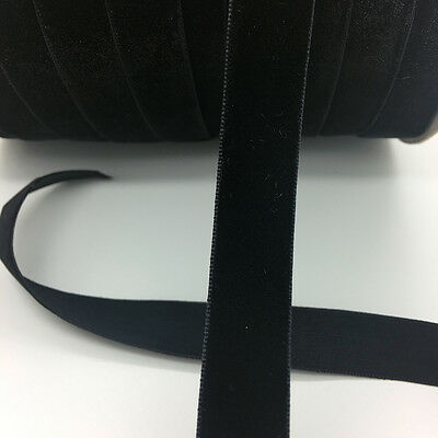 "5yds 5/8 ""16mm Vintage Black Velvet Ribbon Headband Clips Bow Wedding Craft"