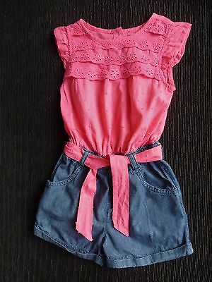 Girls clothing 2-3 years Blue Zoo all-in-one denim-look cotton shorts outfit