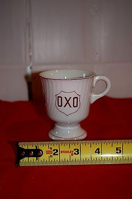 Vintage OXO mug England transferware advertising footed Coffee tea cup HTF