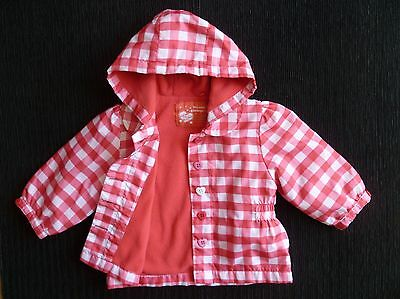 Baby clothes GIRL 3-6m TU red,pink,white check fleece-lined hood raincoat/jacket