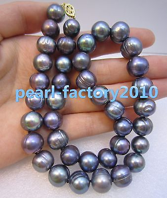 fd4ae3be836c6 BLACK BLUE PURPLE Baroque Real Pearls Pearl Necklace Strand 14k ...