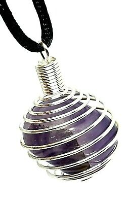 Amethyst Gemstone Pendant Tumble Stone Wire Cage Wrapped Cord Necklace