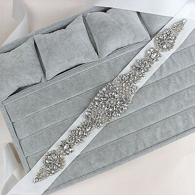 Wedding Dress Bridal Sash Belt Crstal Rhinestone White Waist Belt-Fashion