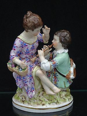 "Superb 18Th C. Kpm Berlin Porcelain ""children W/ Horn & Flower Basket"" Figurine"