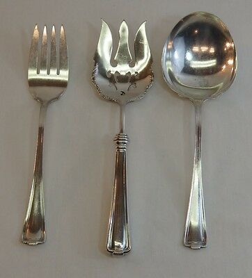 Silverplate Serving Spoon Fork Rogers Antique Cromwell Silverware 3 pc Set 1847
