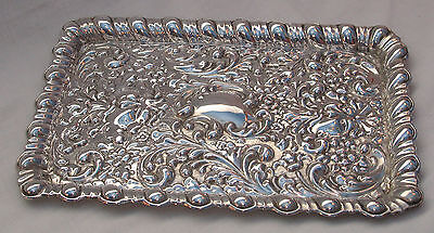 An antique sterling solid silver large quality Dressing Table Tray - Carrington