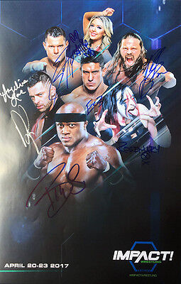 """Official TNA Impact Wrestling Hand Signed 11x17"""" Impact TV April 2017 Poster"""