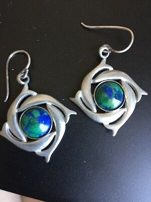 Silver Green Blue Dolphin Earrings