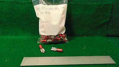 """(1) AMP 100 Pack 1/4"""" Female Push-On Red Insulated for #22 - #18 Wire NOS"""