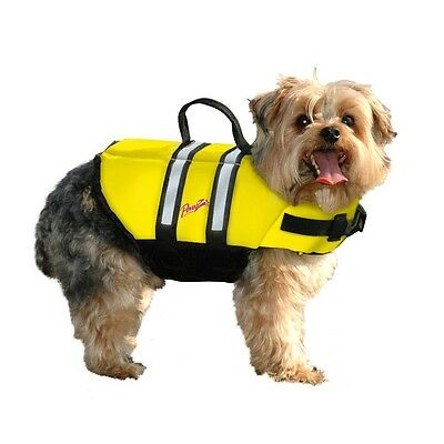 Pawz Pet Products Nylon Dog Life Jacket Yellow with Handle for Quick Lift