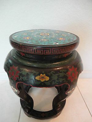 "Chinese 13"" Floral Cloisonne,hand Painted Lacquer Carved Wood Stand Table Seat"