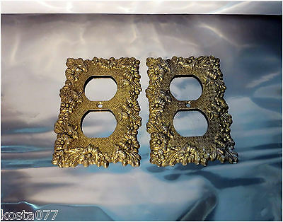 Vintage EDMAR 30D, Decorative Power Outlet Cover Plates, Pewter, Gold Coloured