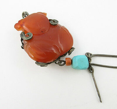 Antique Chinese Carved Agate Happy Baby Stone Pendant Sterling Coral Turquoise