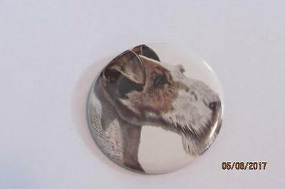"""2"""" Wirehaired Fox Terrier Button Pin"""