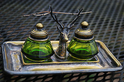 Antique Inkwell With Stag, WMF plated brass, green glass wells, Germany