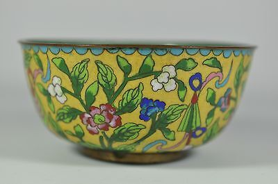 Fine Old China Chinese Cloisonne Imperial Yellow Enamel Bowl Scholar Art