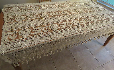 "Antique Lace Bed Cover Coverlet 79"" x 59"" Window Curtain Panel Ecru"
