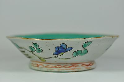 #12 Fine Old China Chinese Famille Rose Scallop Porcelain Bowl Scholar Art