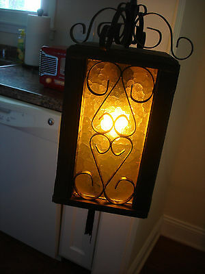 Vintage Hanging Lantern Swag Wood and metal Light / Lamp Fixture Plastic sides