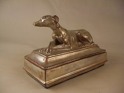 Silver Gilt Whippet Greyhound Dog Box French English Style Boîte dorée argentée